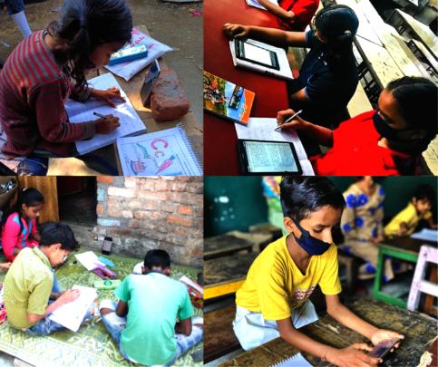 Children studying through smartphones & tabs