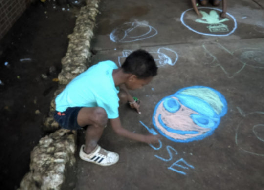 Artistic Expression Activity with Chalk