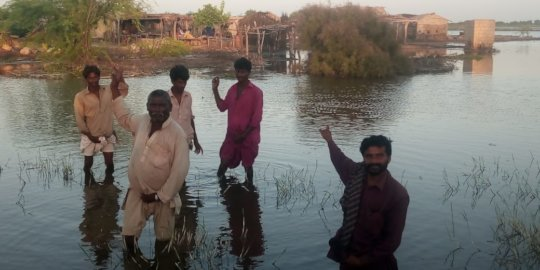 Flood water in houses