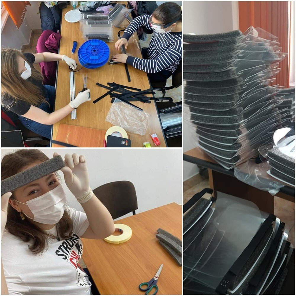 Young people manufacturing face shields