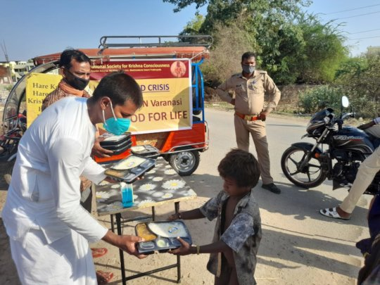 Free meal to a poor child in village