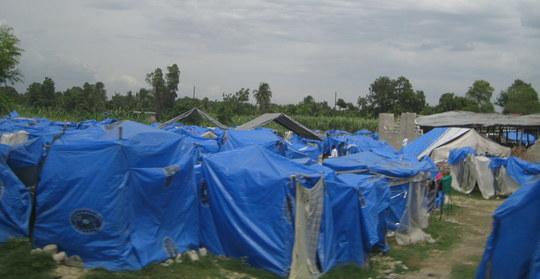 Tent cities in rural Haiti