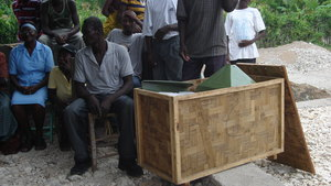 Opening the crate containing mill motor