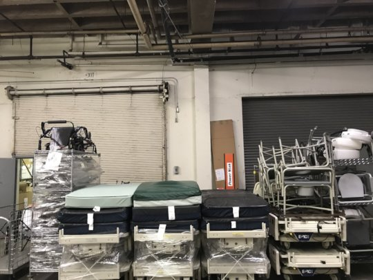 Equipment being prepared for shipment