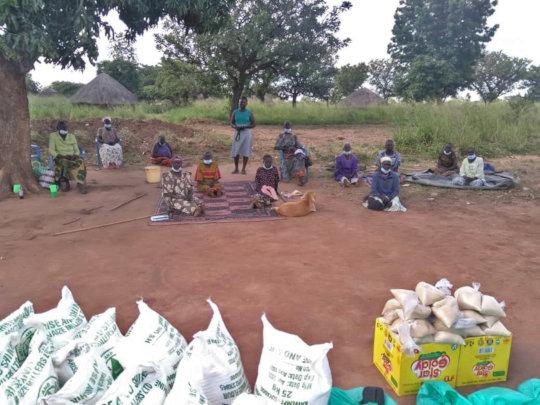 Older Agwata Women Receiving Food & Supplies