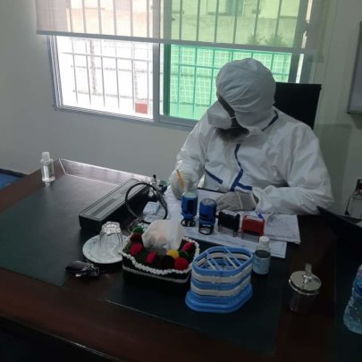 Wearing full protective equipment