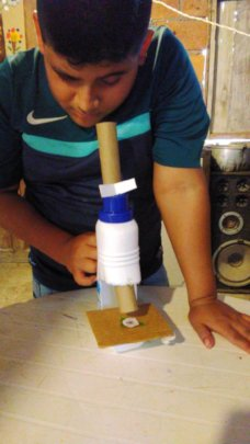 Model microscope with recycled materials