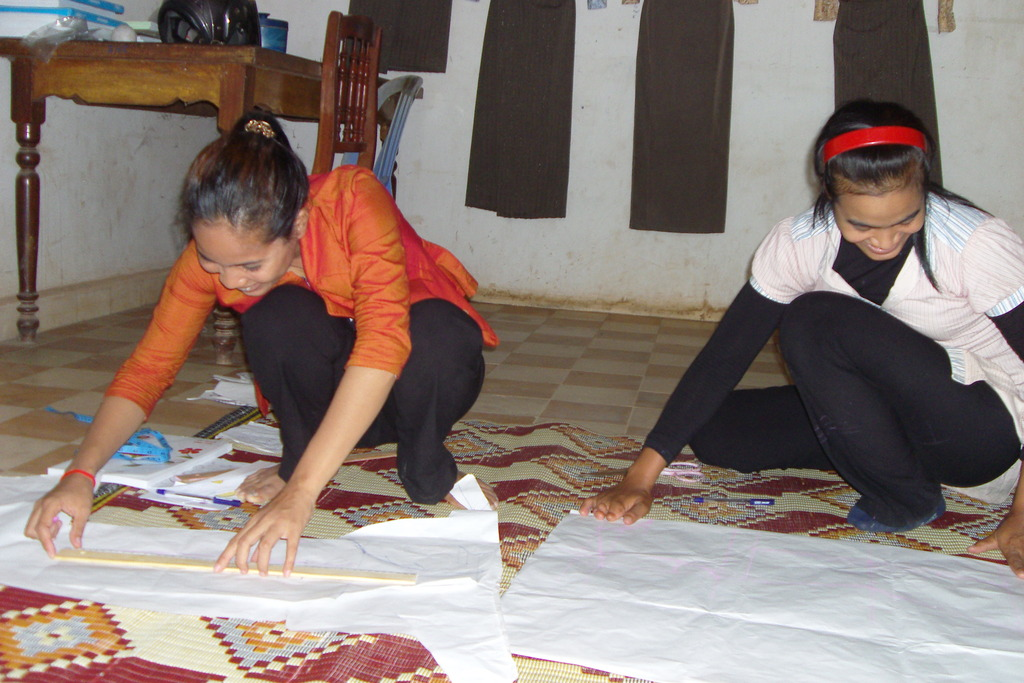 NFE students at a sewing skills class in Svey Pak