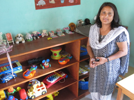 Bina in one of the new classrooms