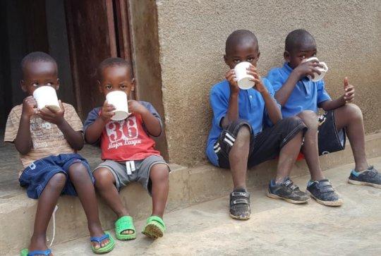 Kids enjoying breakfast