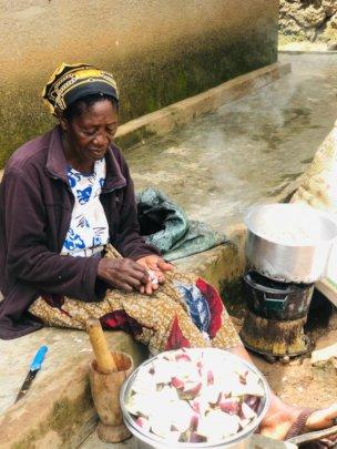Mariya preparing eggplant and rice