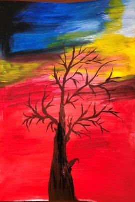 Carer's artwork from recent online Art Class!