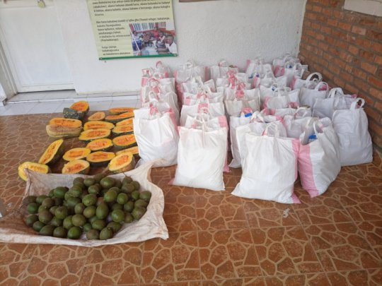 Food prepared for aid at the Ndera sector