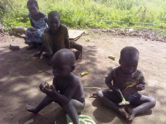 Children enjoying sunflower seeds