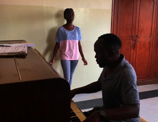 Joy in singing lesson