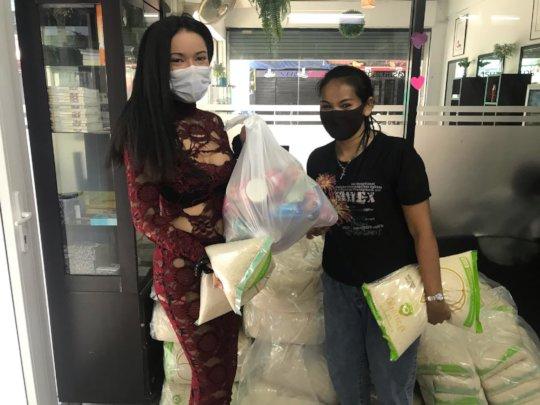 women picking up her bag