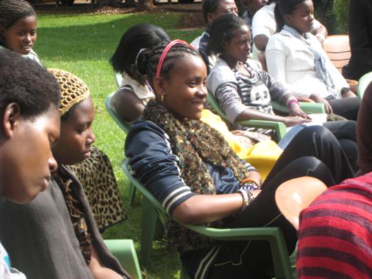 Residents listening to life skills presentations