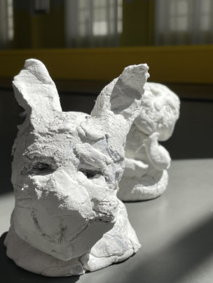 Clay sculpture inspired by public art.