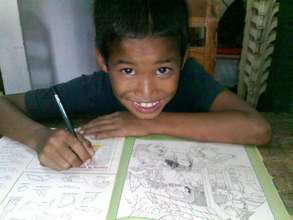 Street child with his workbook
