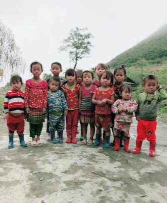 Children in a bitter cold day