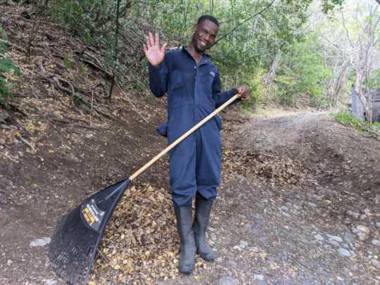 Trail maintenance at Pigeon Island