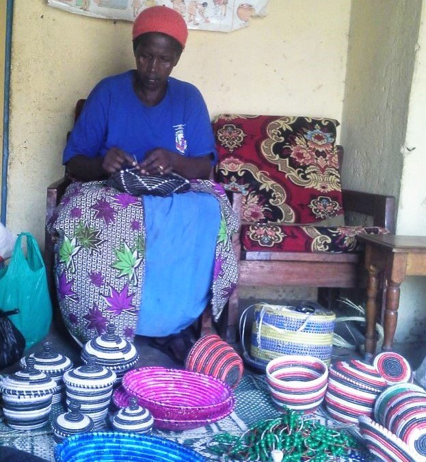Baraba with some of her handmade baskets