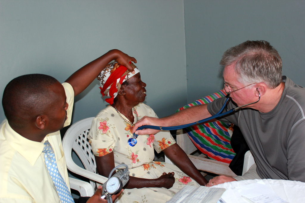 Grandmother Receiving a Medical Assessment