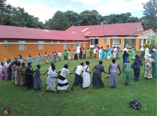 Grandmothers dancing during TOT Training