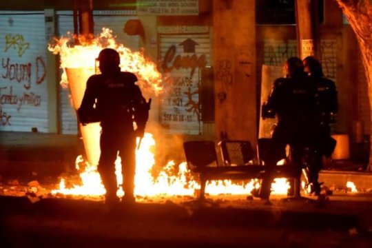 Police is being attacked, and BURNED