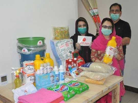 Hygiene and food items distributed by AAR staffs