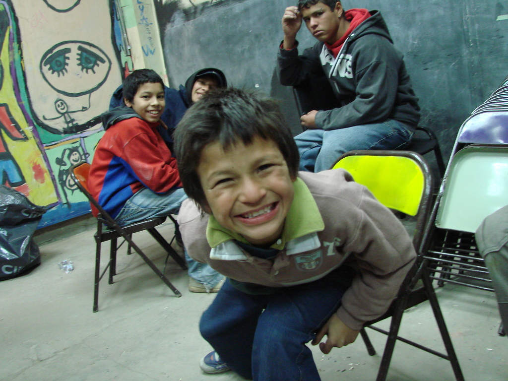 Braiton during a recycling workshop