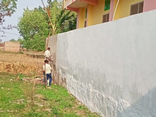 Plastering of outer wall in Keshwa Child Center
