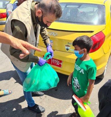 Street kid gets food, hygiene packages
