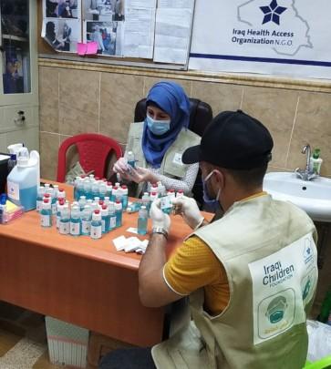 Preparing hand sanitizer