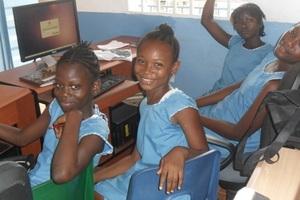 Girls in computer lab