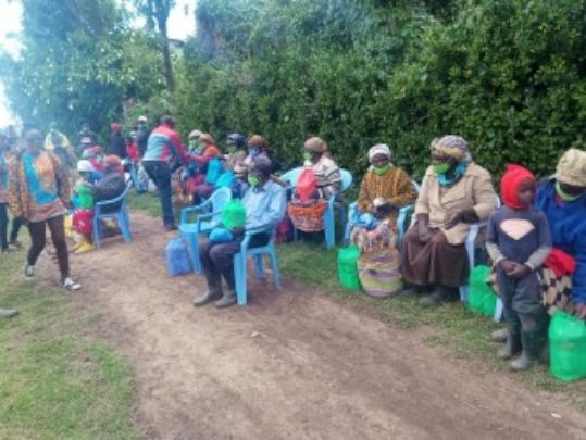 Social distancing at our food distribution program