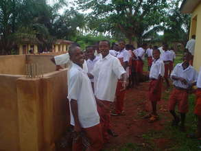 Students excited about their fish pond