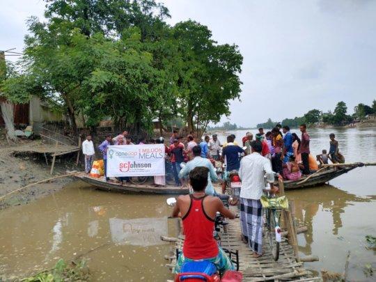 We took food to villages along river banks