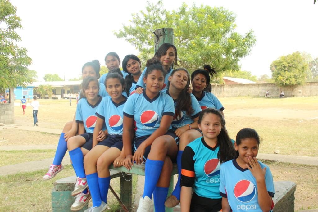 Teen girls at soccer tournament