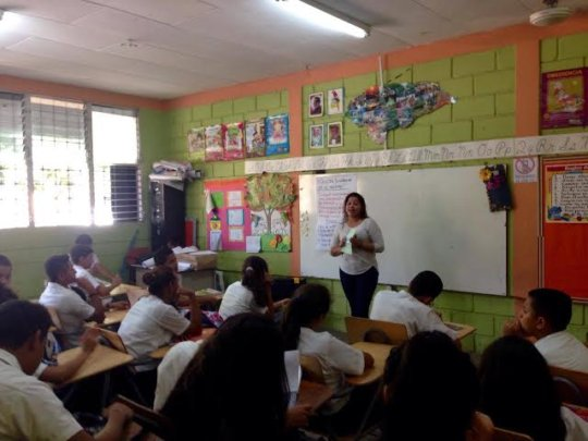 Ivelis leading sex ed workshop in local school
