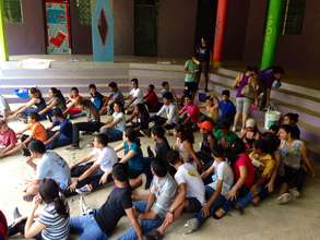 Icebreakers with local youth to initiate day camp