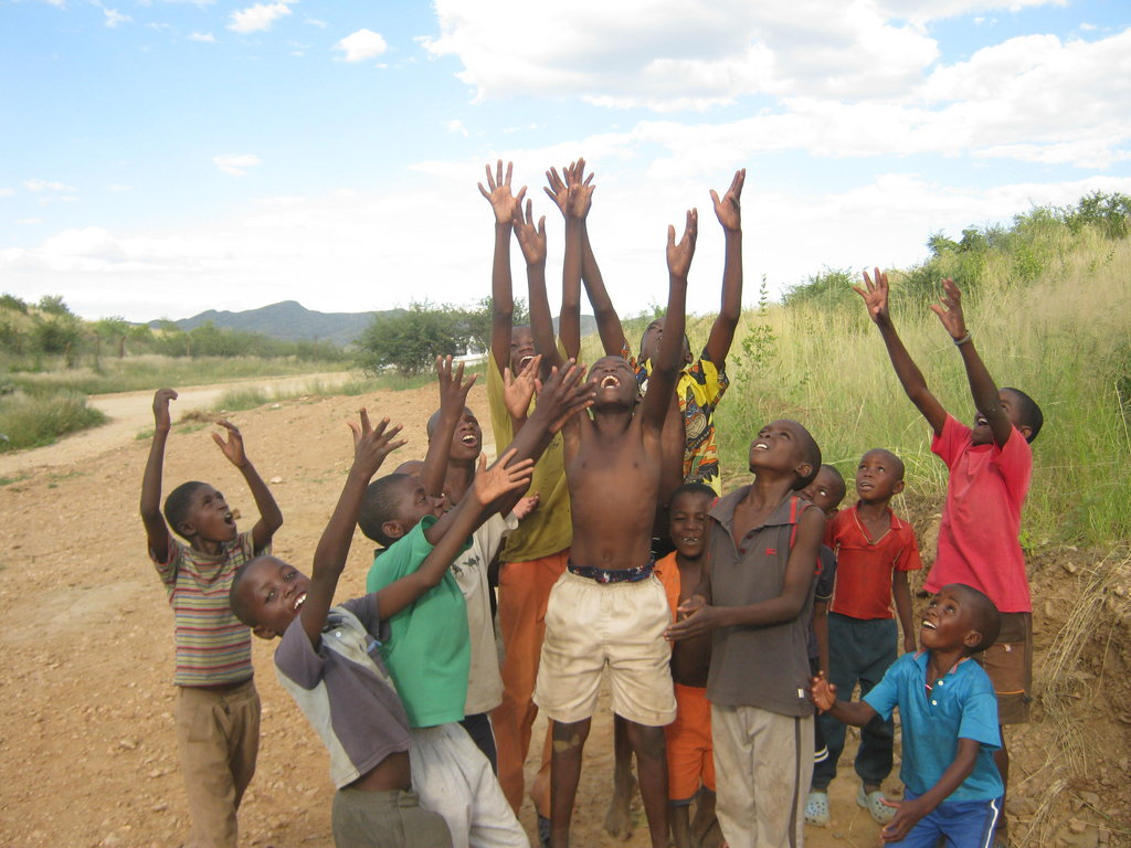 Kids in Namibia enjoying games with their Football
