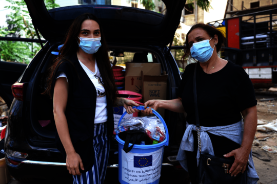 Providing hygiene supplies in affected communities
