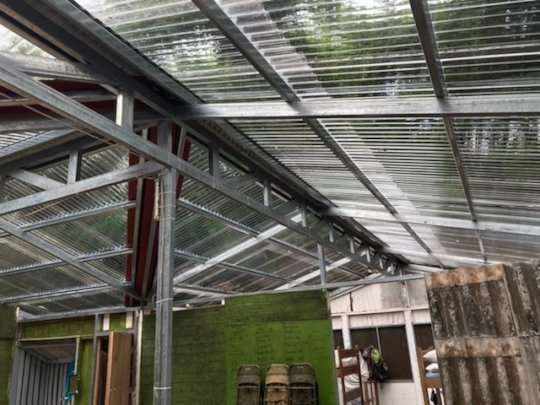 The new roof and structural supports