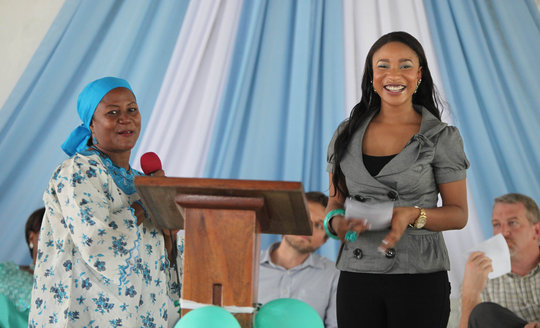 Rosana Schaack, director, with Tonto of Nigeria