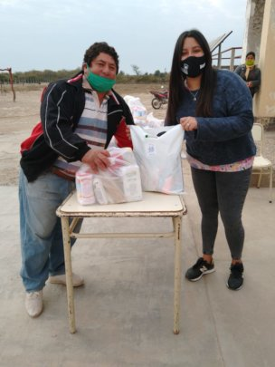 Delivering donations of sanitary and hygiene kits