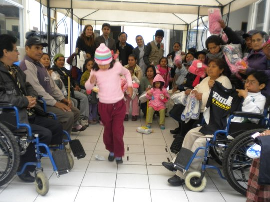 Families recieve donations at clinic