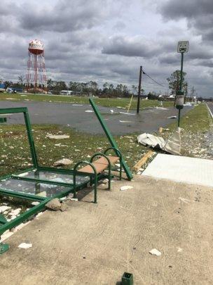 Bus stop near now gone community