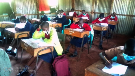 Girls sitting for exams