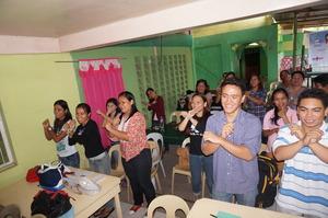 Warm up dance to energize the Aflatoun teachers!